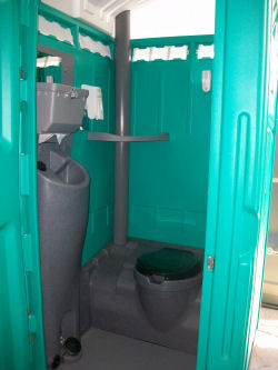 Flushable portable restrooms bathrooms laredo south texas for Deluxe portable bathrooms